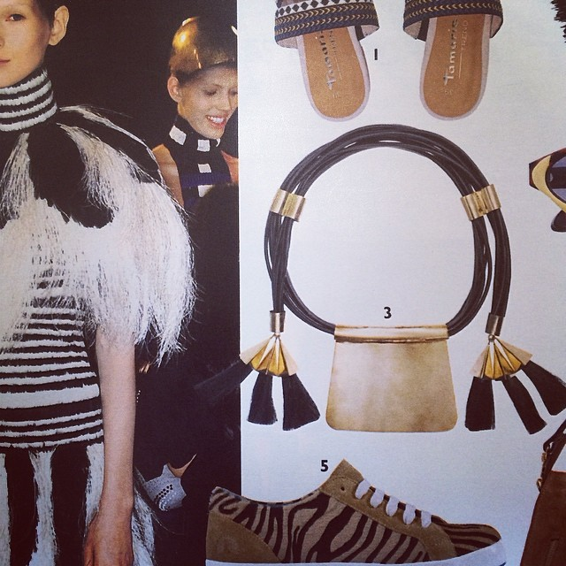 """Uriel Salas leather strings horse hair and gold plated tribal neck piece """"la batalla """" collection in Grazia  @grazia_fr #urielsalasjewelry #tribal #jewelry #fashion @publicimagepr #publicimagepr #accessories"""