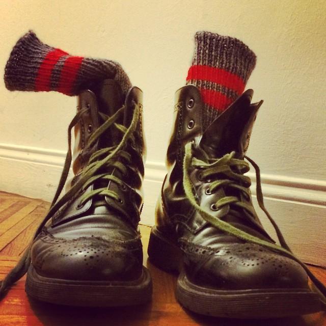 Old Prada boots + new hand knitted Mamma socks #madeinitalywithloveandpassion #mamma
