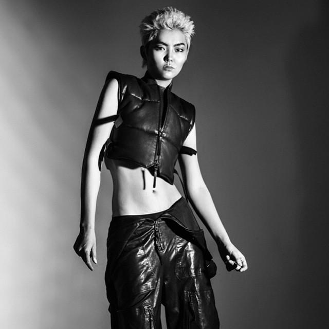 Diana like Billy Idol for Ainur Turisbek Fall Winter 15 campaign shoot @ainurturisbek #ainurturisbek #leather #fallwinter #campaign #blonde