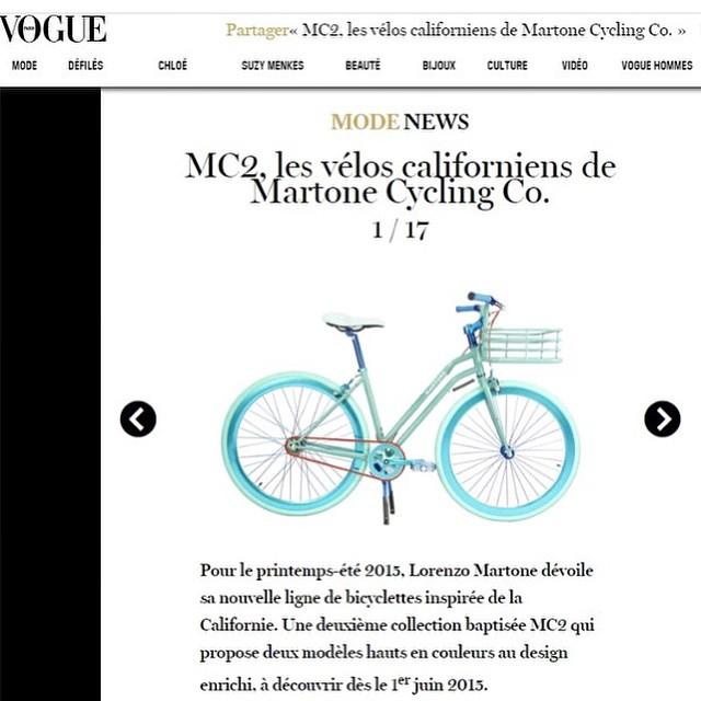 VOGUE.fr features Martone Cycling Co new bicycles , new colors and new sizes ( the MIA ) @vogueparis @martonecyclingca @cyrillecaron #vogue #press #martonecyclingco #bicycles #publicimagepr
