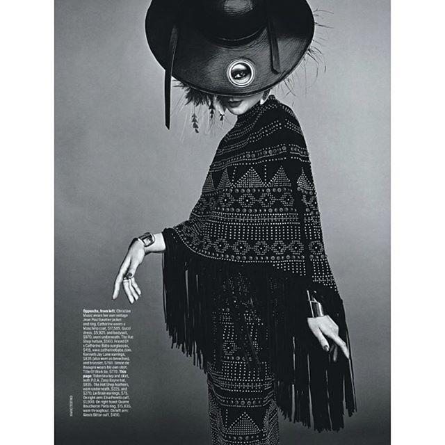 "Catherine Baba starring in ""Birdie"" for Vogue Australia, wearing Zana Bayne leather hat , photography by Mario Testino @zanabayne @catherinebaba @vogueaustralia #zanabayne #catherinebaba #vogue #leather #publicimagepr"