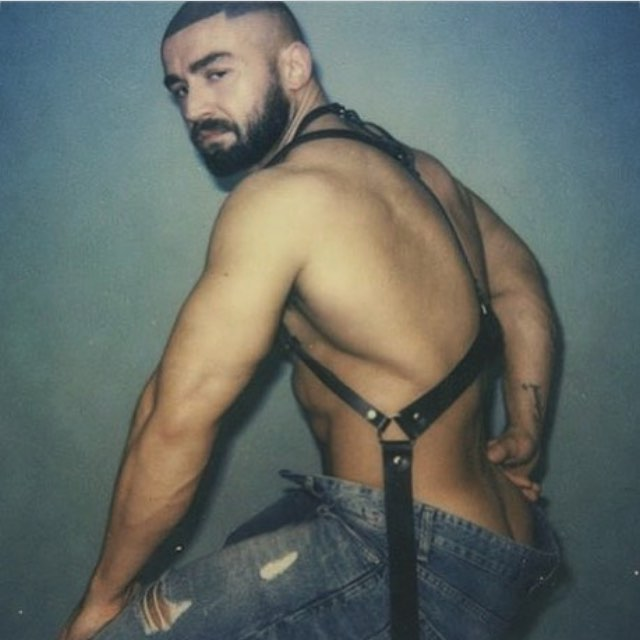 Francois Sagat posing for WAD magazine wearing a Zana Bayne harness @zanabayne #zanabayne #wadmagazine #francoissagat #leather #pornstar #superstar