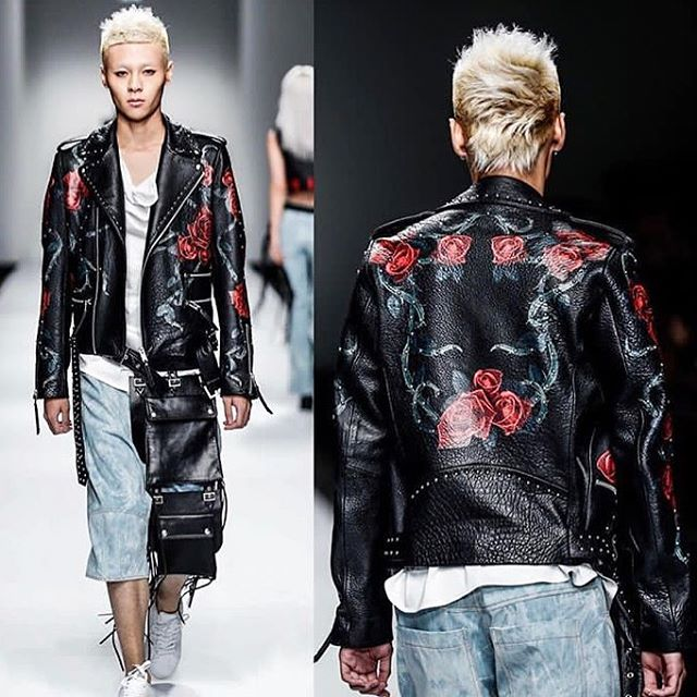 Christophe Terzian painted roses leather biker jacket is a staple in his collections, punk and rock'n roll drama esthetic fused with the romanticism of hippie counter culture @christopheterzian #leather #biker #rose #designer #publicimagepr #pressday #fallwinter2019 #christopheterzian