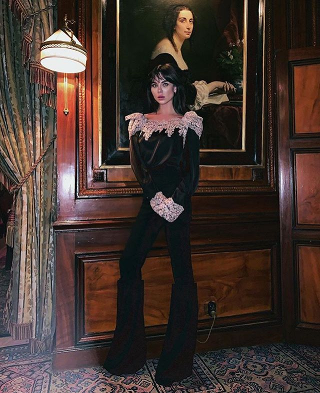 lovely @liliananovaofficial wears a hand embroidered blouse from @jirikalfar #fallwinter2019 collection at #hotelcostes in #paris during #parisfashionweek #jirikalfar #liliananova #sustainablefashion #publicimagepr