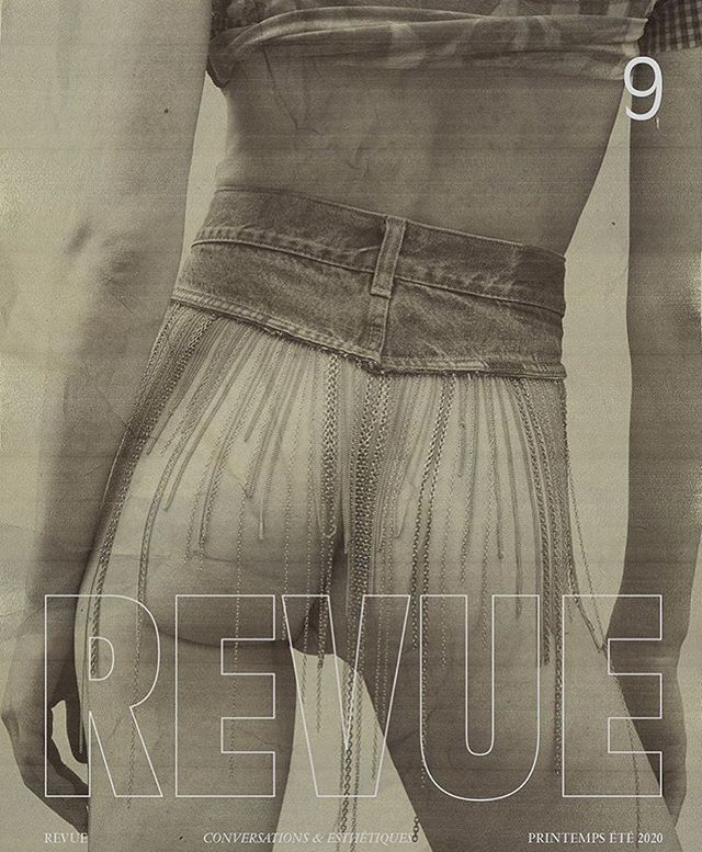 """conversations & esthétiques in issue 9 of REVUE Magazine featuring @anneliek_ on the cover wearing an embellished denim skirt/belt from @maisondavidebazzerla """"the gold rush"""" collection of handcrafted recycled pieces , photographed by @blommersschumm and styled by @daniellevancamp @rev.ue  #maisondavidebazzerla #recycling #reclaimed #sustainablefashion #denim #denimforlife #revuemagazine #cover #independent #magazine #designer #pr #beautiful #images #publicimagepr"""