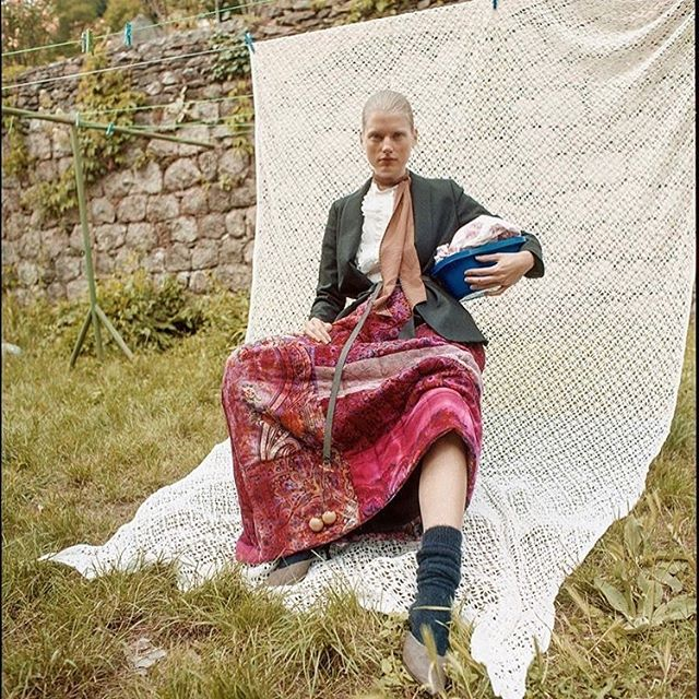 OCCHII quilted wide skirt made with reclaimed wool shawls and quilted on 100% recycled down filling featured in @frankieandclo photographed by @faustinemartin_  styling by @coline_peyrot @occhiinyc #sustainablefashion #reclaimedfabric #handdyed #homemade #occhiinyc #occhii #independent #designers #pr #beautifulimages #publicimagepr
